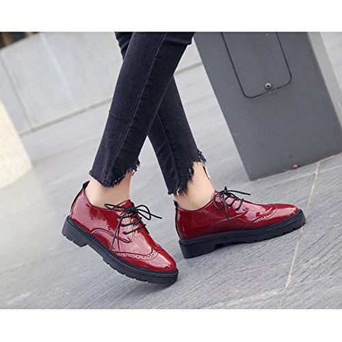 Burgundy Toe up Round Perforated T Shoes Lace JULY Comfy Low Retro Women's Fashion Shoes Oxfords Heel nRURqZAOw