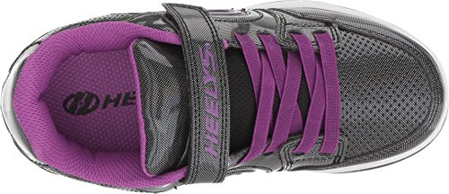 Image of Heelys Girls' Plus X2 Tennis Shoe, Black Sparkle/Purple, 1 Medium US Little Kid