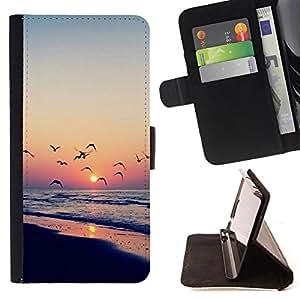 Dragon Case- Caja de la carpeta del caso en folio de cuero del tir¨®n de la cubierta protectora Shell FOR Sony Xperia Z1 M51W Z1 mini D5503- Sunshine Bird Fly