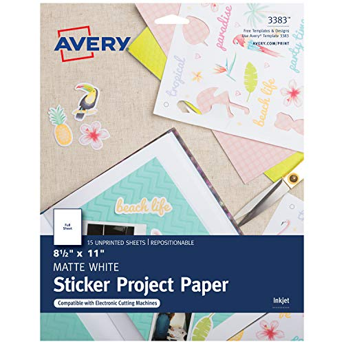 Avery Printable Sticker Paper, Matte White, 8.5 x 11 Inches, Inkjet Printers, 15 Sheets (3383) -