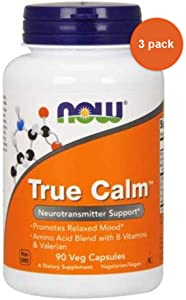 True Calm Amino Relaxer, 90 Caps by Now Foods (Pack of 3)