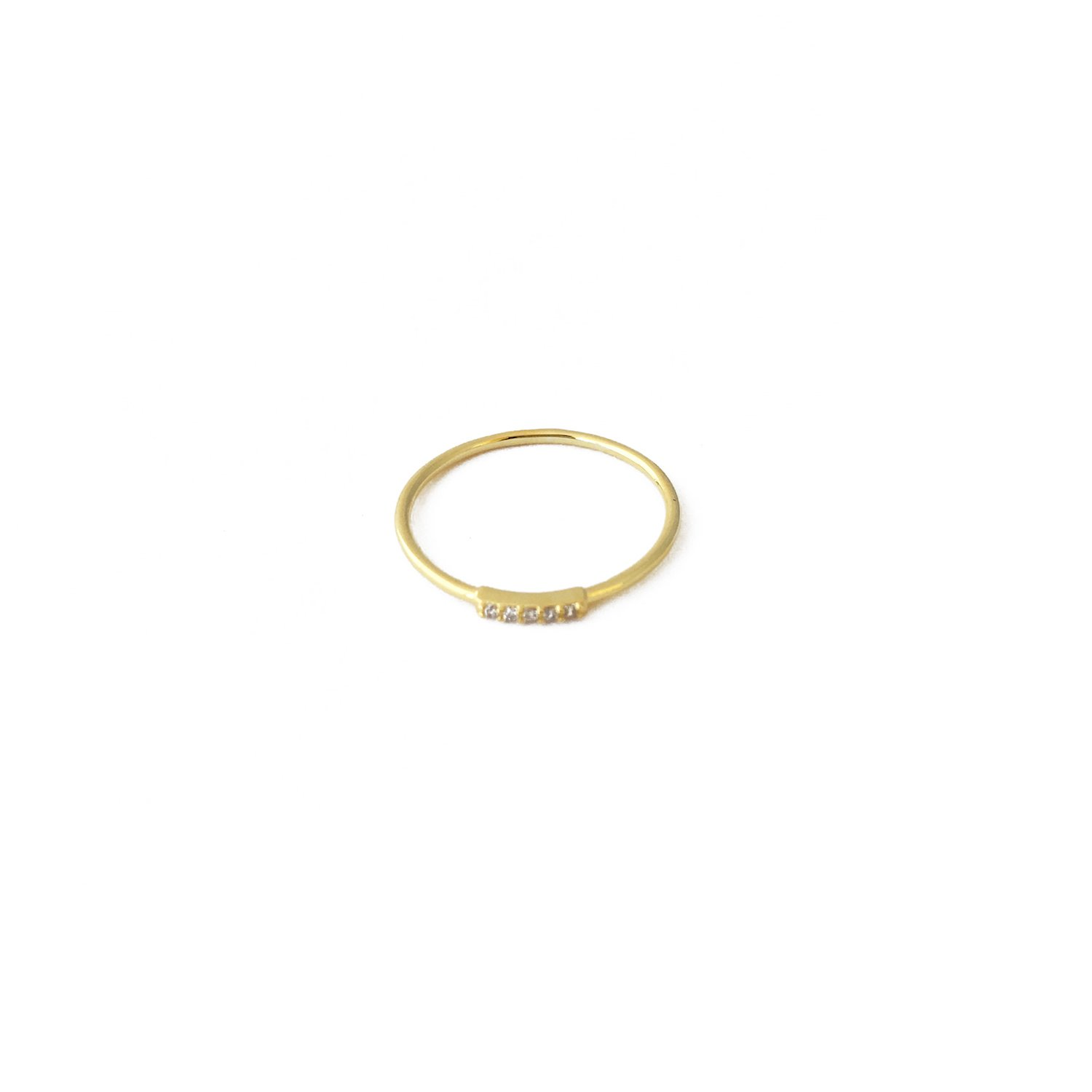 HONEYCAT Mini Crystal Row Ring in 24k Gold Plate | Minimalist, Delicate Jewelry (Gold 7)