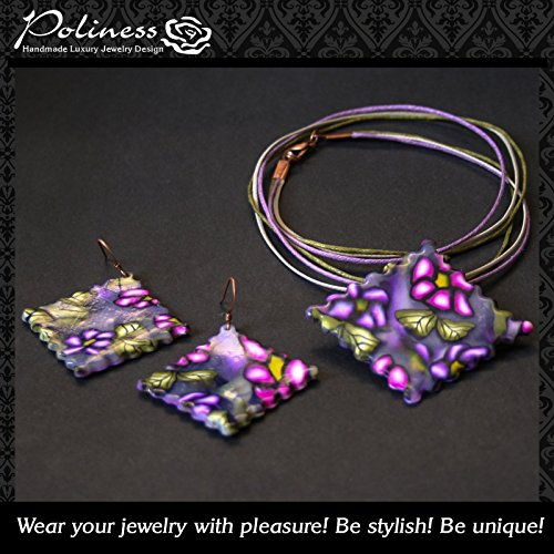 Unique handmade ravioli purple pendant and earrings made with polymer clay in Millefiori technique