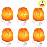 6 Pack Night Light Himalayan Salt Lamp Negative Ion Air Purifier Diffuser Pink Light Shade Hallway Natural Living Hand Crafted Crystalline Shape Health Benefit Ambient Lighting UL Listed Nightlight
