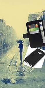 Protector de cuero de la PU de la cubierta del estilo de la carpeta del tirón BY RAYDREAMMM - Samsung Galaxy S6 EDGE - Londres lluvioso Pintura