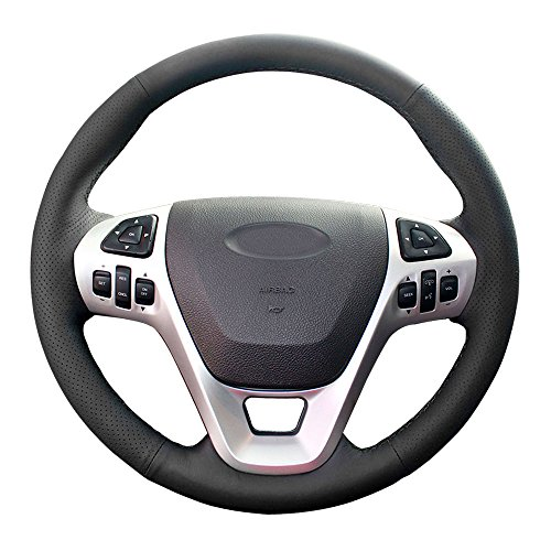 Eiseng Stitch Genuine Leather Steering Wheel Cover for 2011 2012 2013 2014 2015 Ford Explorer Interior Accessories / 2011-2014 Ford Edge / 2013-2017 Ford Taurus SHO Sedan 15 inches (Black thread)