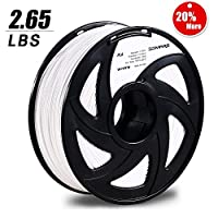 3D MARS White 3D Printing Filament,3D Printer Filament 1.75mm PLA,Dimensional Accuracy +/- 0.05mm,1.2kg Spool,1.75 mm PLA 3D Filament for Most 3D Printer & 3D Printing Pen by 3D MARS