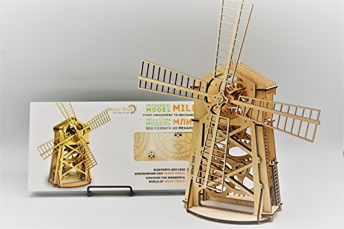 Wood Trick WINDMILL Wind Mill Mechanical Models 3D Wooden Puzzles DIY Toy Assembly Gears Constructor Kits for Kids, Teens and Adults (Wooden Windmill)