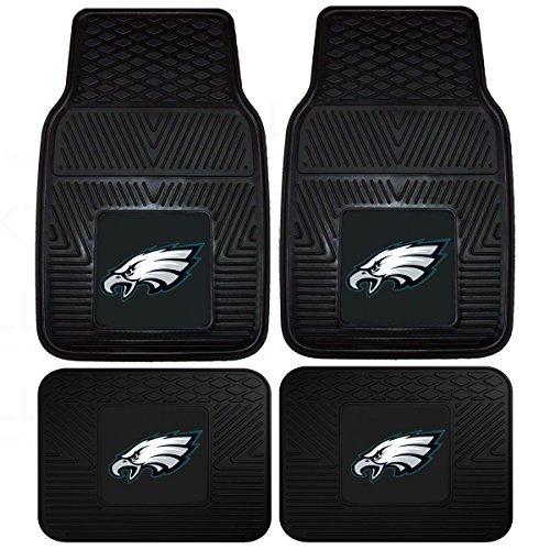 NFL Philadelphia Eagles Car Floor Mats Heavy Duty 4-Piece Vinyl - Front and Rear -