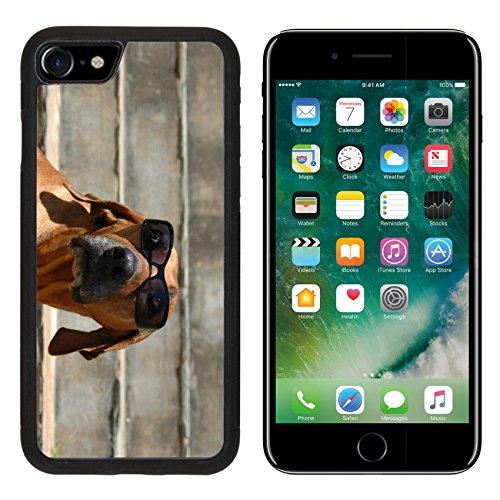 MSD Premium Apple iPhone 7 Aluminum Backplate Bumper Snap Case iPhone7 A beautiful and funny Rhodesian Ridgeback hound dog head portrait sunglasses IMAGE - Neo Sunglasses Blinde
