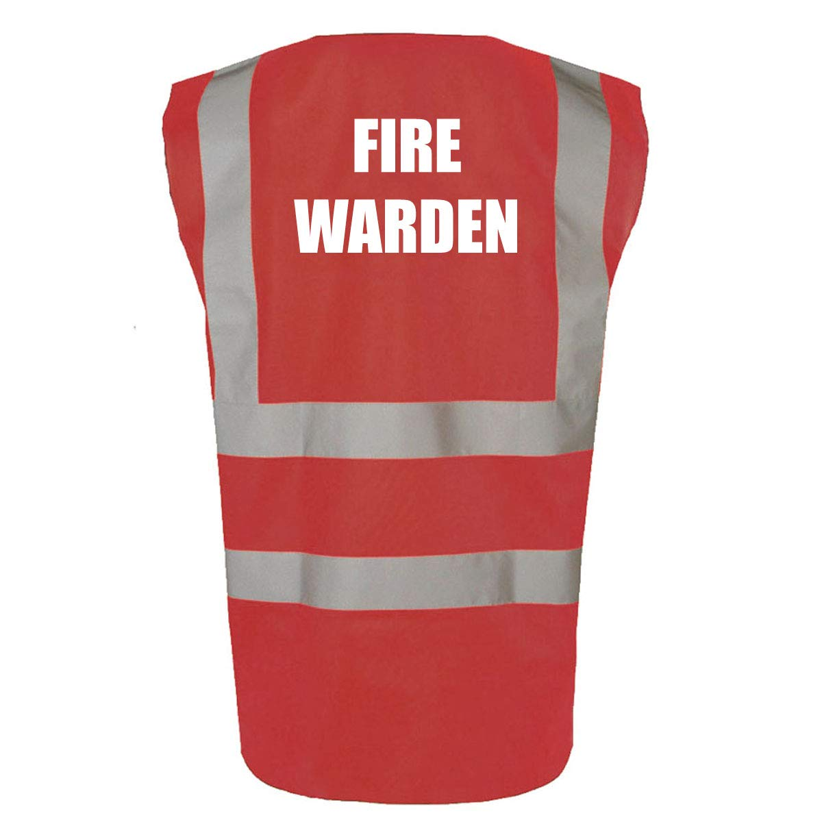 Office /& School Safety Vest Work Medium, Hi Vis Orange Fire Warden Printed High Visibility Hi Vis Site