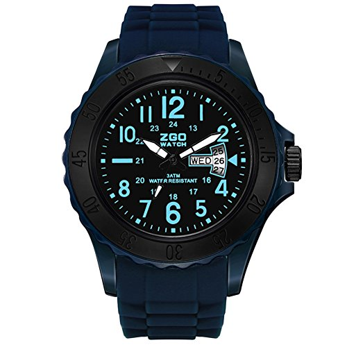 Mens quartz watch,Table 50m waterproof Luminous Silicone strap Dual time zone Calendar Commando [movement] Junior Leisure Young people watch-A ()