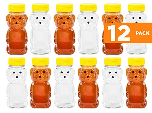Bear Honey Jar (PLASTIC 8 OZ BEAR SQUEEZE HONEY BOTTLE EMPTY WITH YELLOW FLIP-TOP CAPS (12))