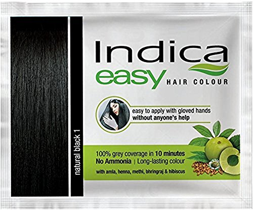 5 Pc Indica Easy10 Minutes Herbal Hair Color Shampoo Base Natural Black Herbs (Henna Easy)