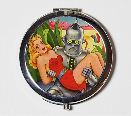 [Robot Sci Fi Comic Compact Mirror 1950s Science Fiction Kitsch Make Up Pocket Mirror for Cosmetics] (50s Make Up)