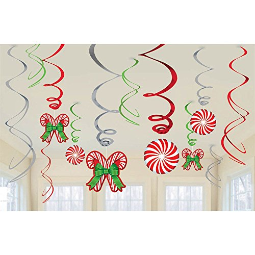 Candy Cane 12 Piece Hanging Swirls Themed Christmas Presents