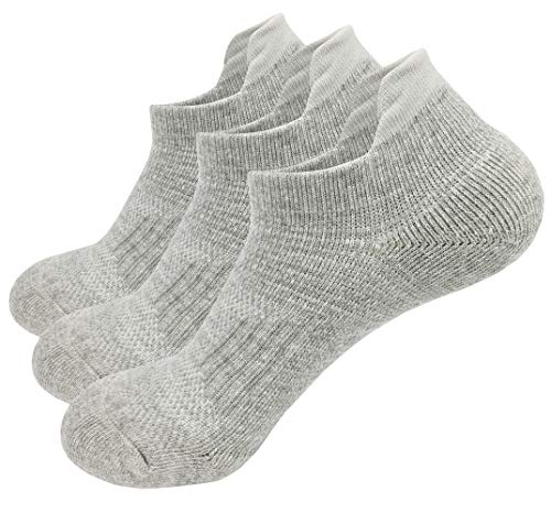 Athletic Ankle Socks Compression Cushioned Sole Cotton Low Cut Sports No Show Sox For Women Men Pack of 3 Size 6-12 ()
