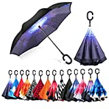 AmbrellaOK Premium Double Layer Compact Reverse Umbrella for Car C-Shaped Hands Free Handle - Inverted Upward Folding Design - Lightweight & Windproof – Ideal Gift Men & Women (Starry Sky)