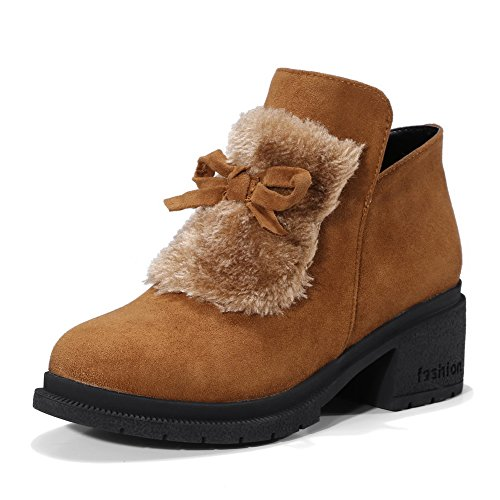 A Fringed Boots Boots Womens Yellow Suede Lining amp;N Toe Water No AN DKU01813 Heeled Closed Urethane Road Resistant Not Closure Warm Bootie pPwdtqx