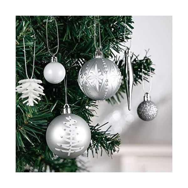Victor's Workshop 70 Pezzi di Palline di Natale, 3-6 cm congelato Inverno Argento e Bianco Infrangibile Ornamenti Palla di Natale Decorazione per la Decorazione Dell'Albero di Natale 4 spesavip