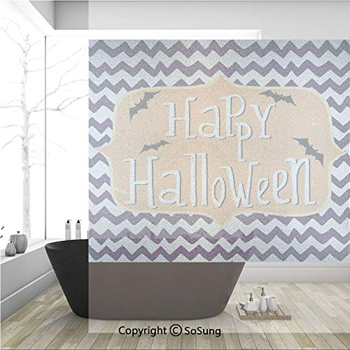 3D Decorative Privacy Window Films,Cute Halloween Greeting Card Inspired Design Celebration Doodle Chevron Decorative,No-Glue Self Static Cling Glass film for Home Bedroom Bathroom Kitchen Office 36x3]()