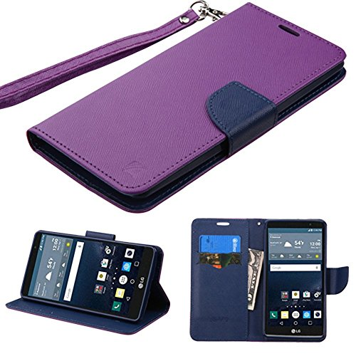 2 Bicast (LG G Stylo Case, G Vista 2 Case, JoJoGoldStar Bicast PU Leather Folio Wallet with Card Slots and Kickstand, Comes with Screen Protector, Wrist Strap, and Stylus - Purple, Blue)