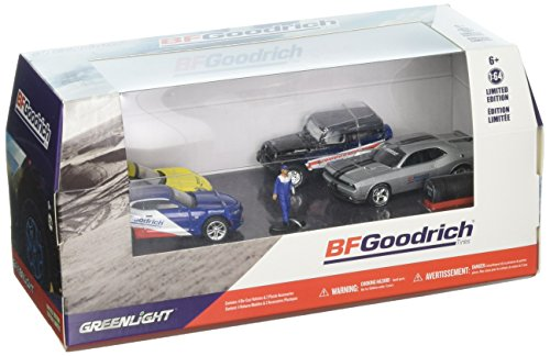 BFGoodrich Performance Tire Shop 6 Pieces Set Multi Car Diorama with Figurine and Tire Set 1/64 Diecast Model Cars by Greenlight -
