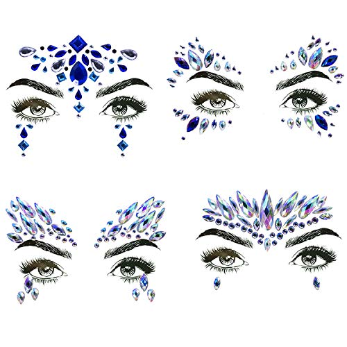 4 Sets Mermaid Face Gems Rhinestone Tattoo Festival Jewels Eyes Face Body Temporary Tattoos Glitter Temporary Tattoo Bindi Crystals Rainbow Tears Stickers]()