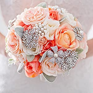 IFFO custom brooch jewelry figurative flower bride holding flower orange coral ivory wedding roses bouquet 18