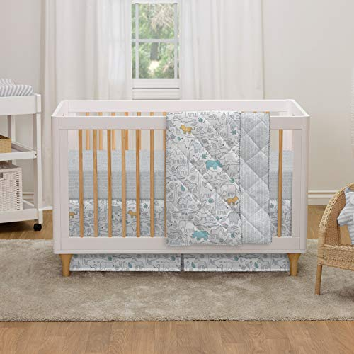 (Lolli Living 4-Piece Cotton Baby Crib Bedding Set with Safari Animals Pattern. Complete Set with Comforter, 2 Fitted Sheets, and Bed Skirt.)