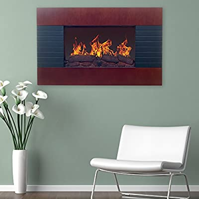 """Home Northwest Mahogany Electric Fireplace with Wall Mount & Remote 36"""", Black Chesnut"""