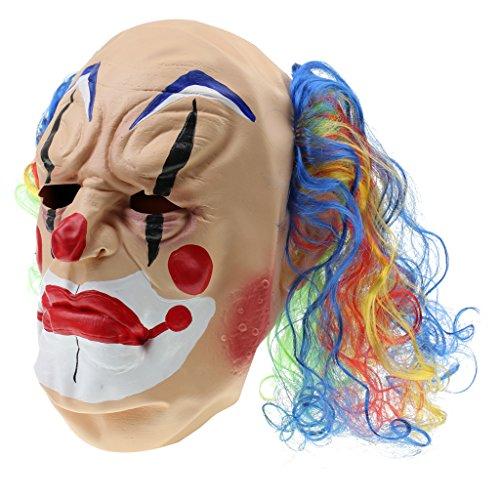 Jili Online Creepy Evil Clown Mask Lunatic Jester Monster Costume Halloween Fancy Dress -