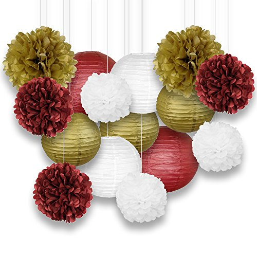Just Artifacts Decorative Paper Party Pack (15pcs) Paper Lanterns and Pom Pom Balls - Maroons/Gold/White (Paper Available)