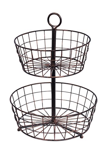 BirdRock Home 2 Tier Wire Fruit Basket | Round Metal Standing Baskets | Fruit Vegetable Garlic Caddy | Freestanding Rustic Decorative Basket