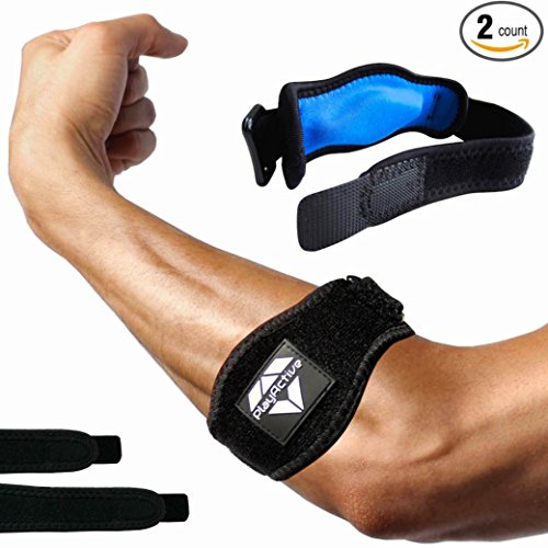 Tennis Elbow Brace (2+2 Pack) with Compression Pad by PlayActive Sports - Best Tennis & Golfer's Elbow Strap Band-Relieves Tendonitis & Forearm Pain-Includes Two Elbow Support Braces & E-Guide