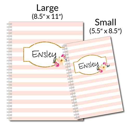 A Touch of Pink Personalized Floral and Stripes Spiral Notebook/Journal, 120 College Ruled or Checklist Pages, durable laminated cover, and wire-o spiral. 8.5x11 | 5.5x8.5 | Made in the USA Photo #4