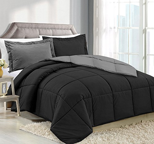 Queen Comforter Reversible Duvet Insert - Black/Gray - Hypoa