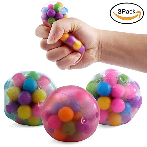 DNA Stress Ball Toys- 3 Pack- Squeezing Stress Relief Ball- For Kids & Adults- Stress Squishy Toys For Autism, ADHD, Bad Habits & More- Risk-Free Sensory Rubber Ball