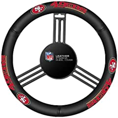 Drive in style with this genuine high grade leather steering wheel cover.  It is easy to slip onto the steering wheel with no lacing.  The cover features your favorite team colors and logo and fits most steering wheels. Imported