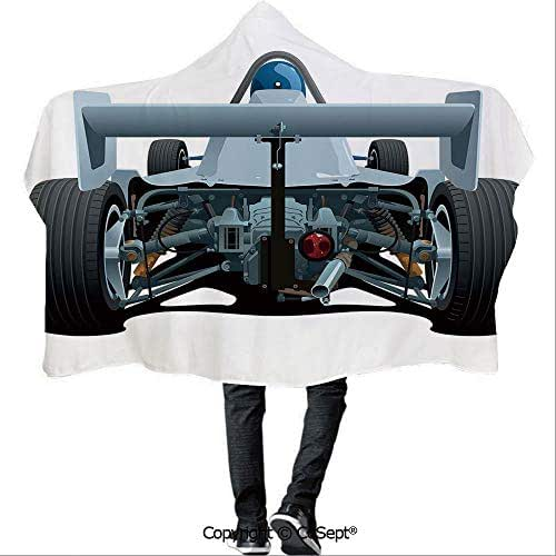 SCOCICI Wearable Hooded Blanket,Back View of a Formula 1 Race Car Rally Competition Sports Cartoon Style,Unisex All Ages One Size Fits All(59.05x43.30 inch),Bluegrey Black White
