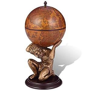 vidaXL Botellero en forma de Atlas y globo terráqueo 42 x 42 x 85 cm vino cerveza