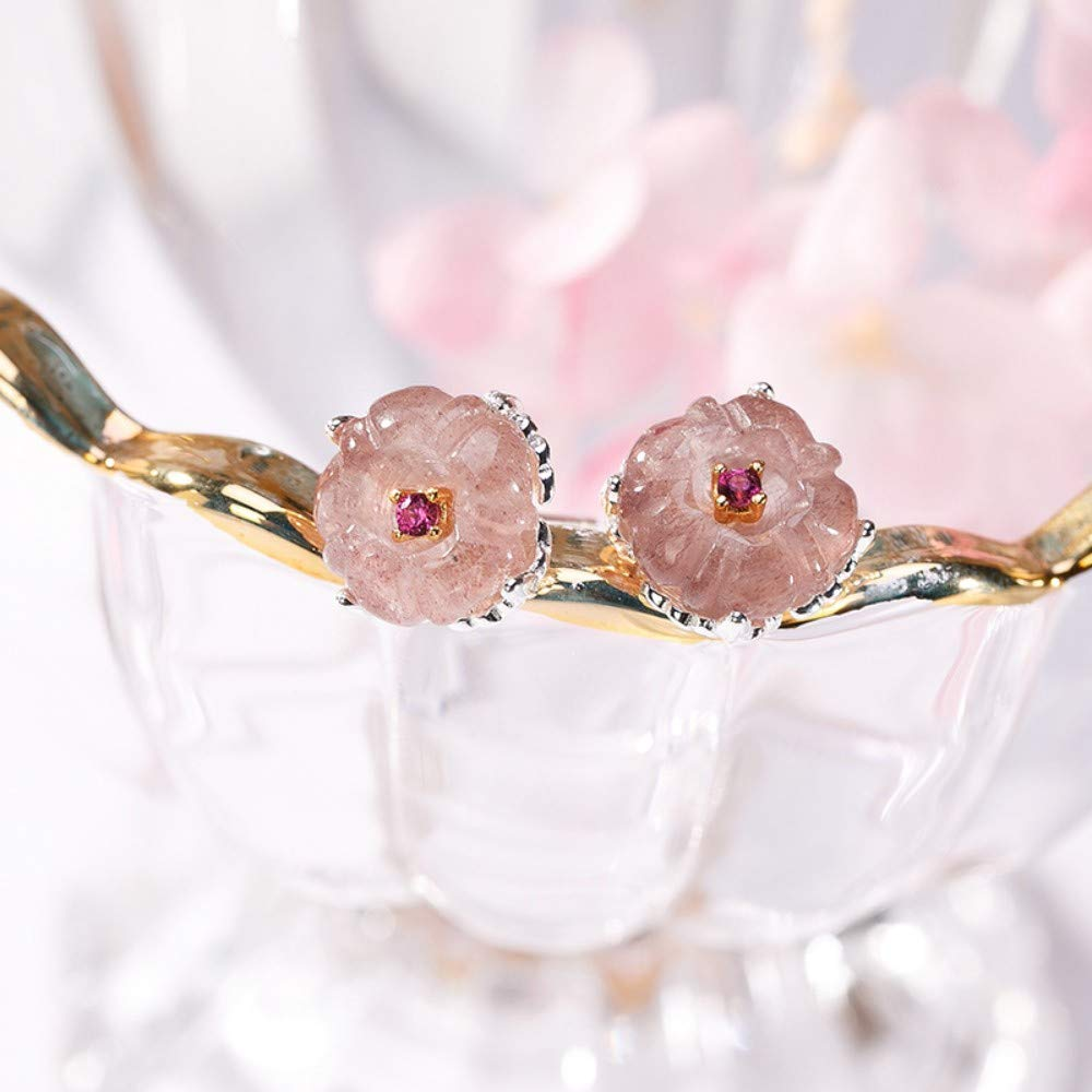 THTHT Vintage Earrings S925 Sterling Silver Women Natural Strawberry Crystal Plum Studs Elegant Temperament High-End Gift Jade Earrings