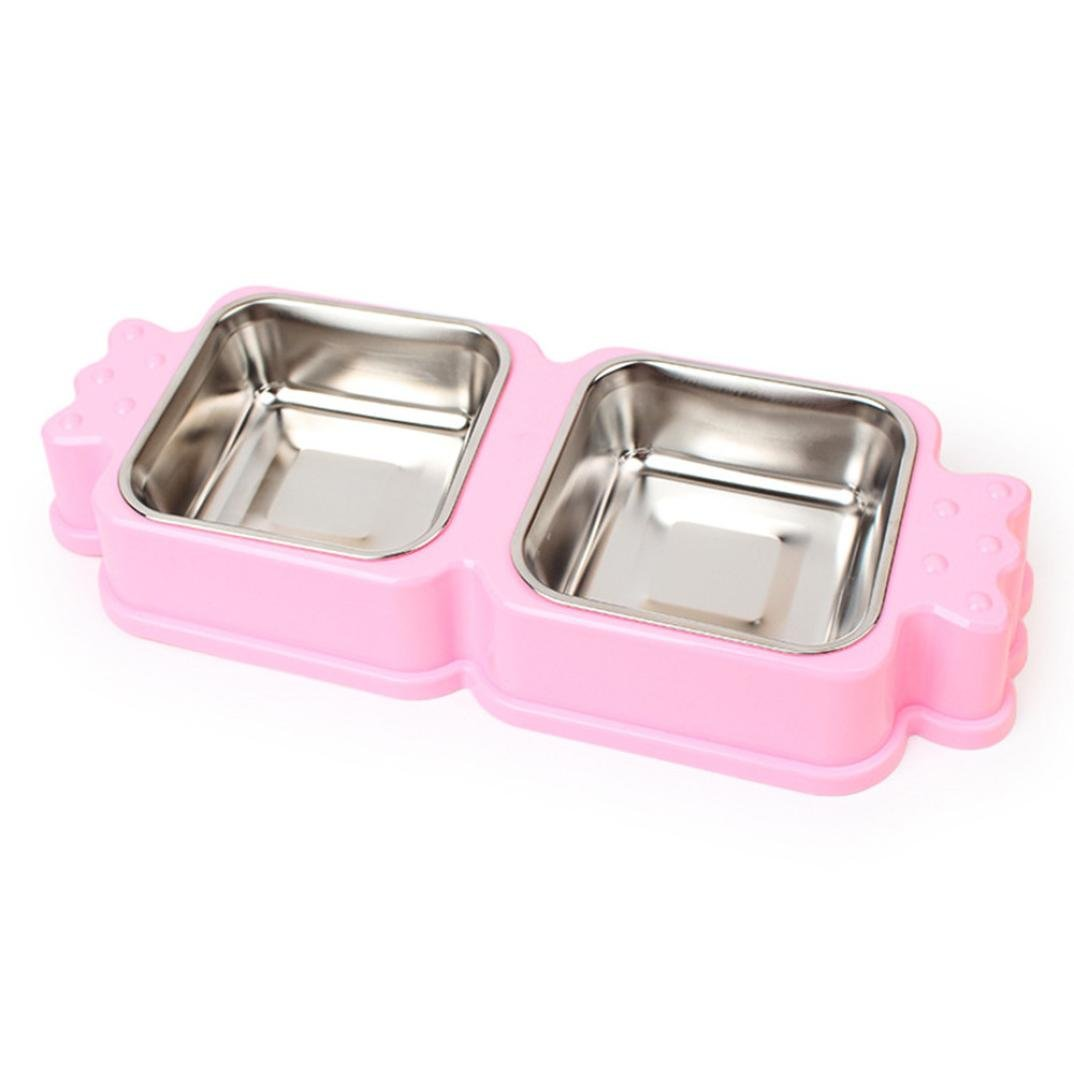 GBSELL Pet Dog Cat Puppy Stainless Steel Travel Feeding Feeder Food Bowl Water Dish New (pink)