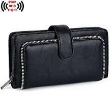 UTO Women PU Leather Wallet RFID Blocking Large Capacity 15 Card Slots Smartphone Holder with Snap Closure