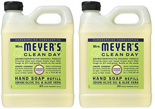 Mrs. Meyers Liquid Hand Soap Refill Lemon Verbena, 2 Pack (33 oz) ()