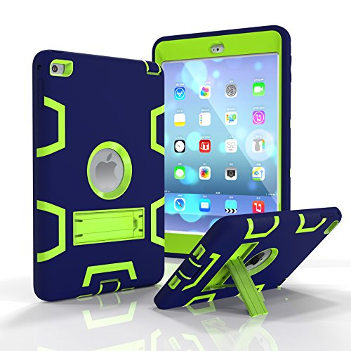 oge Three Layers PC&Silicon Armor Defender Heavy Duty Shockproof Rugged Hybrid Full Body Protective Case with Kickstand for Apple iPad Mini 4 (7.9 Inch) ()