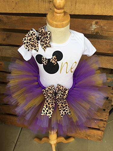 Minnie Mouse Birthday Tutu Outfit Set Dress Shirt First Birthday 1st Purple Brown Gold and Cheetah Leopard -