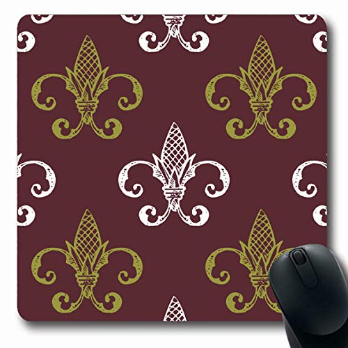 Antique Tawny Port - Ahawoso Mousepads for Computers Pattern Brown Antique Fleur De Lis Abstract Yellow Classic Elegance Floral Flower Design French Oblong Shape 7.9 x 9.5 Inches Non-Slip Oblong Gaming Mouse Pad