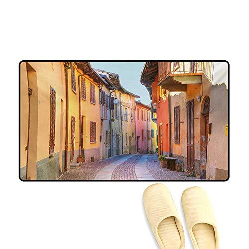 (Doormat,Narrow Paves Street Among Old Houses in Town Serralunga DAlba Piedmont,Bath Mat 3D Digital Printing Mat,Pale Orange Brown Pink,16