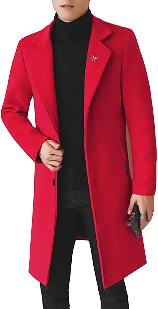 Shaoyao Mens Wool Blend Jackets Winter Trench Coats Slim Fit